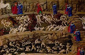Como estoy leyendo Inferno de Dan Brown, os pongo una foto del mapa del infierno de Botticelli, total todos acabaremos alli asi que mejor ir con mapa no?