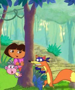 Al grito de Swiper no robes y saltando hemos ayudado a Dora a llegar a su destino