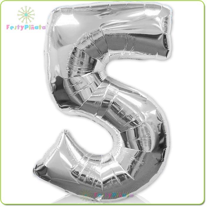 globo-plata-numero-5